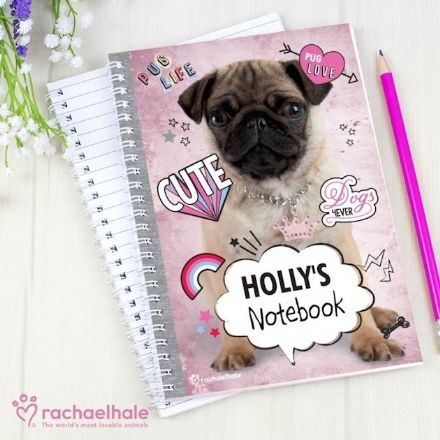 Personalised Rachael Hale A5 Notebook - Doodle Pug